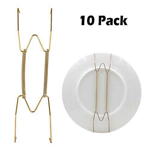EEEKit Dish Display Plate Hangers, 10-Pack Plate Spring Hook Holder Hanging Wire for The Wall Home Decoration, Compatible Decorative Plates, Antique China, Antique Plates and Art