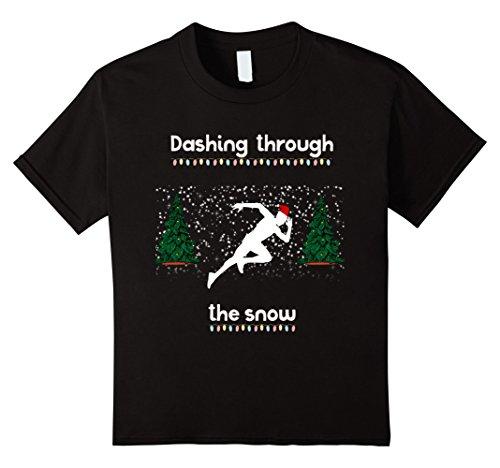 Kids Dashing Through The Snow Christmas Running Holidays T-Shirt 8 - Through Running Snow
