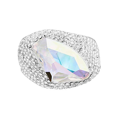 (Devin Rose Abstract Cocktail Ring for Women in Rhodium Plated Brass with Swarovski Crystals (Aurore Boreale Color Size 7))