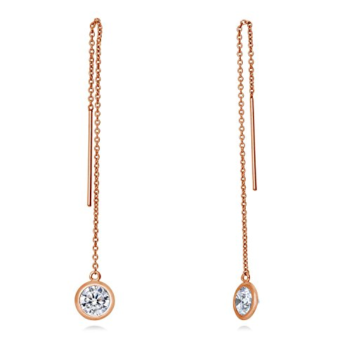 lashed Sterling Silver Cubic Zirconia CZ Fashion Threader Earrings (Charm Watch Free Earrings)