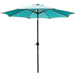 SNAIL 9u0027 Patio Umbrella UV Protection Fade Resistant Outdoor Market Umbrella  With Push Button Tilt, 8 Ribs, Turquoise