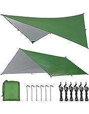 OTraki Camping Tarp 4 m x 3 m Hangmat Regen Fly Tent Tarp Waterdicht Winddicht Sneeuwdicht Camping Dekzeil Shelter Tent Luifel Draagbare Lichtgewicht Zonnescherm voor Tuin Outdoor Reizen Strand