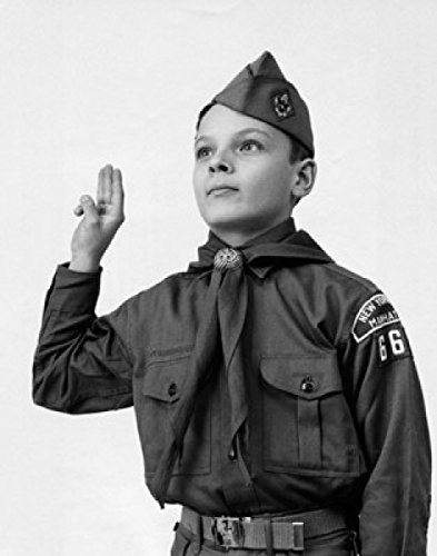 Posterazzi Close-up of a boy in a scout uniform saluting Poster Print (18 x 24) by Posterazzi