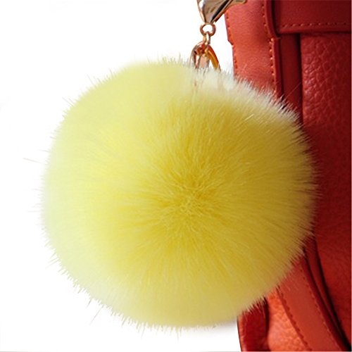 Dikoaina 2 Pieces Faux Fur Pom Pom Keychain Bag Purse Charm Pendant Gold Ring Fluffy Fox Fur Ball (Yellow Gold Fox)
