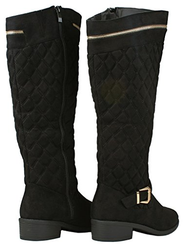 Knee Faux Boots Decor Slanted Zip Strap Black Gold Buckle Suede Women Riding Greta40 Quilted High 7 7xw1UEq4U