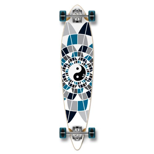 (Yocaher Graphic Complete Pintail Skateboards Longboard Cruiser w/BLACK WIDOW Premium 80A Grip Tape Aluminum Alloy Truck ABEC7 Bearing 70mm Skateboard Wheels (Complete Pintail -04- Ying Yang))