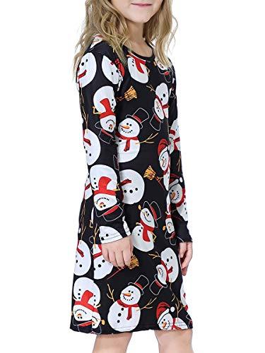 Novelty Aline Dress for Girls Santa Claus Printed Hem Dress Long Sleeve Trapeze Dress for Girls -