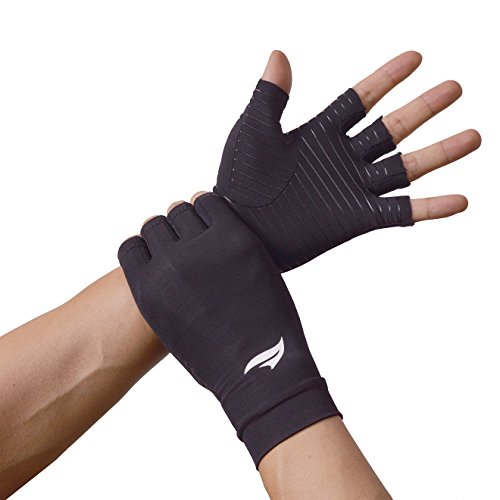 BANILLUE Copper Balance Compression Arthritis Gloves – Guaranteed Copper Infused Fit Fingerless Glove to Speed Up Recovery & Relieve Symptoms of Arthritis, RSI, Tendonitis & More – 1 Pair(Large) ()
