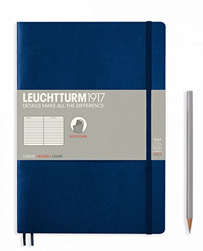 "Leuchtturm 1917 Marine Blue Soft Cover Journal, Slim 10"" x 7"" - Ruled/Lined"