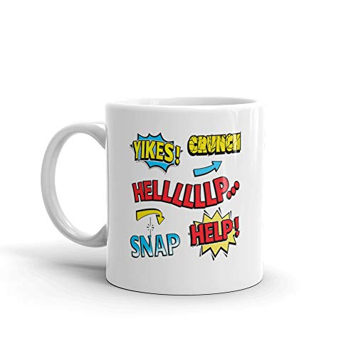 Colorful Examples Of Sound And Speech Expressions In Comics Crunchy Favorite Drink Mug Cups Ceramic 11oz