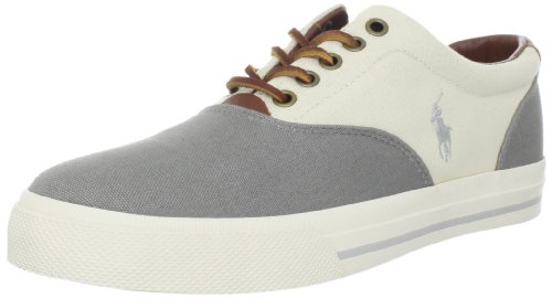 Polo Ralph Lauren Men's Vaughn Saddle Fashion Sneaker,Museum Grey/Guide Cream,10 D (Polo Ralph Lauren Saddle)