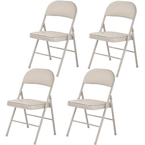 Set of 4 Folding Chairs Heavy-load Steel Frame Portable Home Garden Office Furniture/ Beige #1010 (Uk Furniture Antique Sale Garden For)