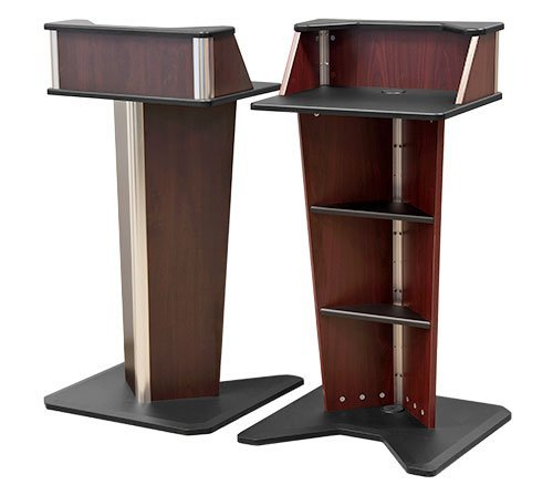 AVFI - VFI V-Lectern Slim Stationary Lectern Smaller Spaces (), Bkl Black (Black A/v Credenza)