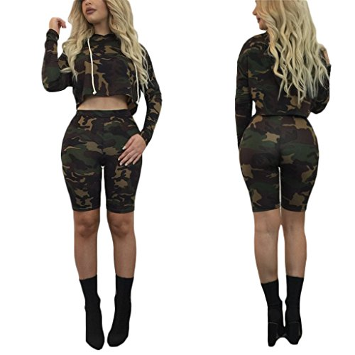 Army Of Two Outfit (Womens Girls Summer 2 Pieces Outfits Camouflage Print Long Sleeve Bodycon Hoodied Top Shirts + Pants Bandage Club Shorts Army XL)