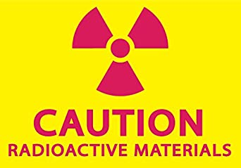 ZING 1928S Eco Label, Caution Radioactive Materials, Recycled Polystyrene Self Adhesive, 5' H x 7' W, Magentaon Yellow (Pack of 2) 5 H x 7 W Zing Green Products