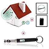 Ultrasonic Dog Bark Controller + Dog Whistle - Anti Barking Device - Safe for Pets & Humans - Easy Hanging Bird House with Free Training Whistle & Battery to Train Dogs to Stop Barking 3 Settings