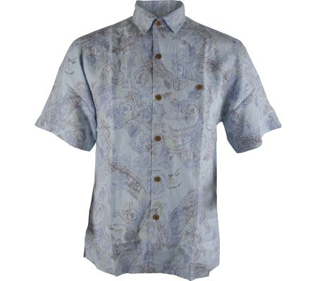 Tommy Bahama Men's Moves Like Paisley Camp Shirt,Chambray,US S - Paisley Camp Shirt