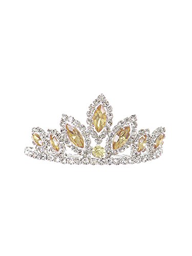 WonderfulDress Dazzling Stoned Crown Tiara SMALL-Champagne-One Size