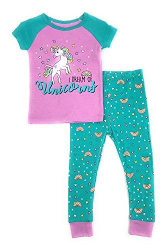 Baby and Toddler Girls Snug Fit Graphic Pajama Shirt and Pants Two-Piece Set (3T, I Dream Of Unicorns) (Pants Shirt Pajamas)