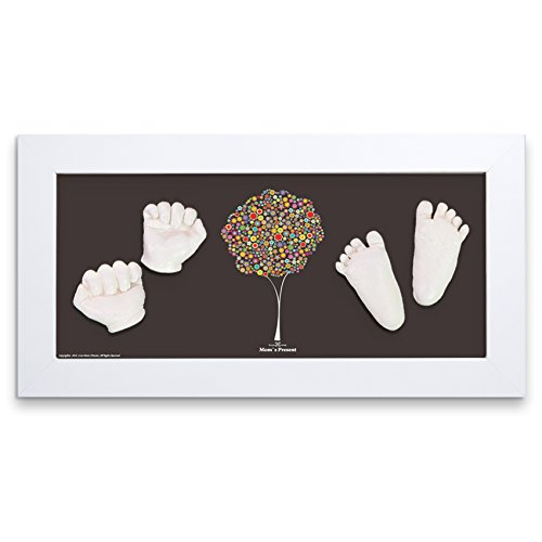 Momspresent Baby seits Print und Foot Print Deluxe Casting Kit mit White Frame7