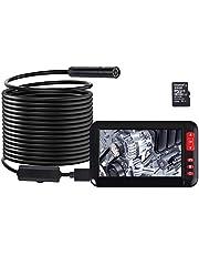 Proster Digitale industriële endoscoopcamera, 4,3 inch HD LCD-kleurenscherm, 1080P IP67 waterdichte detectiecamera met 8 LED's, 5 m flexibele sondeslang en 2000 mAh batterij, zwart