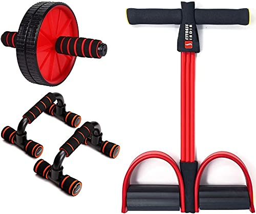 Fitness India AB Roller Pull Reducer Push Up Bar Body Toner Abs Exerciser Fat Buster Home Gym Exercise Equipment Abdominal Exercise Equipment Combo of 3 – Random Colour