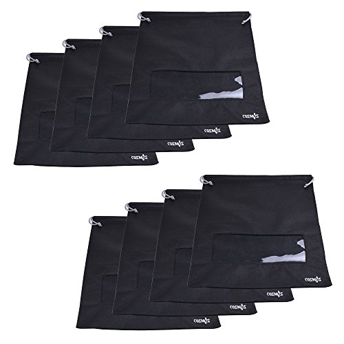 Cosmos ® 8 Pcs Non-Woven Dual Drawstring Shoe Bags with Clear View Window for Travel Carrying, 17-1/2 x 13-1/2 inches