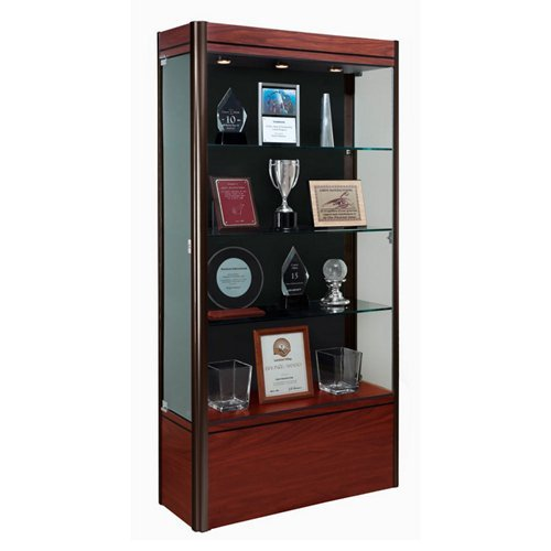 Contempo Series Lighted Floor Display Case Base Color: Cherry, Case Backing: Black, Frame Color: Satin