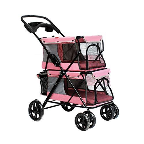 WMS Double-Decker Pet Stroller Folding Four-Wheeled Dogs/Cats Cart Lightweight Seat Belt Handbrake Travel Pet Sports Car. (Color : Pink)