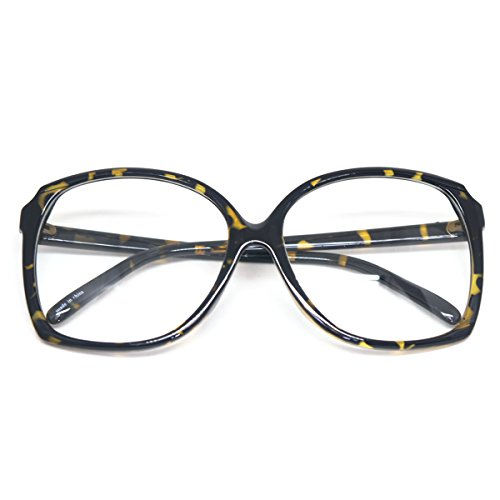 Oversized Square Horn Rimmed Eyeglasses Classic Vintage Inspired Geek Clear Lens (Leopard E8344, Clear)