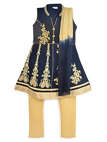 K&U Kay Girls' Navy Blue Kurta Salwar Suit Set (Suit Blue Salwar)