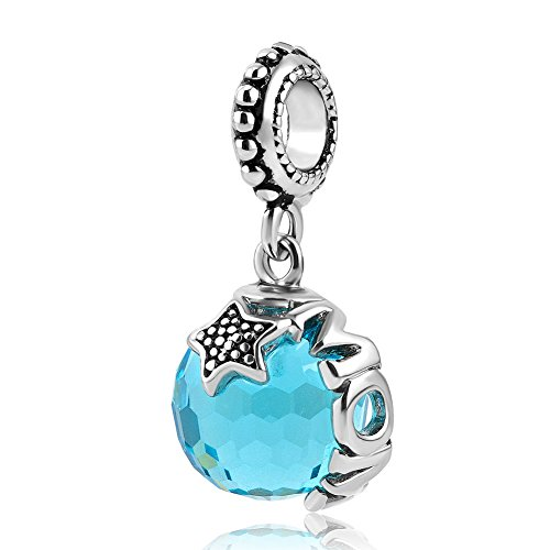 Star Blue Synthetic (LovelyJewelry Mom Dangle Star Blue Synthetic Crystal Charm Bead Pendant For Bracelets)