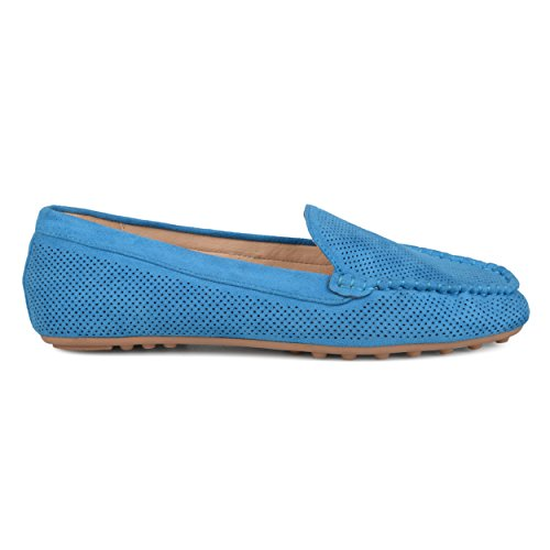 Brinley Co Womens Comfort Sole Faux Nubuck Laser Cut Loafers Blue