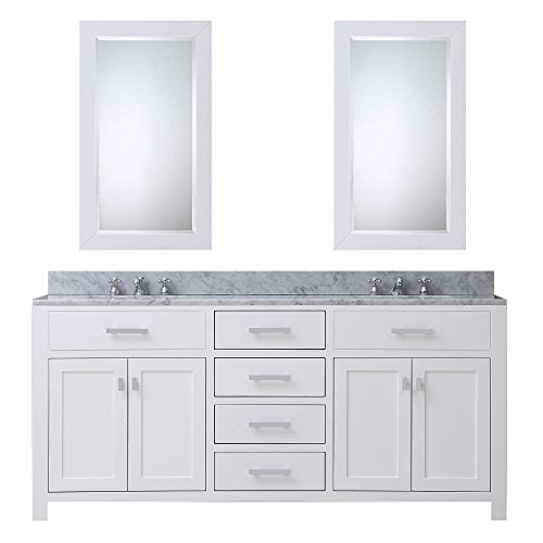 Water Creation MADISON 72WC 72-Inch Solid White Double Sink Bathroom Vanity with 2 Matching Framed Mirrors