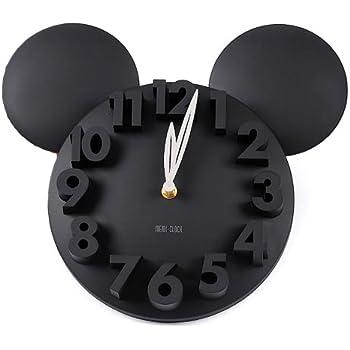 onegood Modern Design Mickey Mouse Big Digit 3D Wall Clock Home Decor Decoration (black)