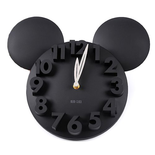 Black Mickey Mouse-Shaped Clock with Extruded Numbers