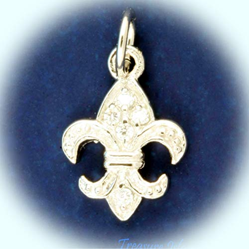 - Fleur De Lis Iris Flower Saints with CZ 925 Sterling Silver Charm Cubic Zirconia Vintage Crafting Pendant Jewelry Making Supplies - DIY for Necklace Bracelet Accessories by CharmingSS