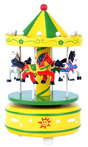 (Carousel Music Box Wooden 4 Horses Rotating. Yellow and Green color playing