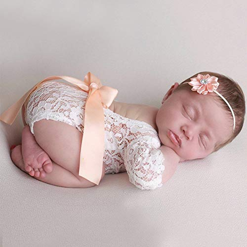 Newborn Photography Props Lace Romper Wraps Headband for