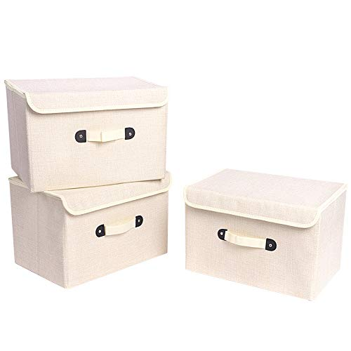 XIMIVOGUE 3 Pack Large Storage Boxes Storage Bins Linen Fabric Foldable Storage Cubes Bins Boxes Containers with Lid and Handles for Home, Office, Nursery, Closet, Bedroom, Living Room (Beige)