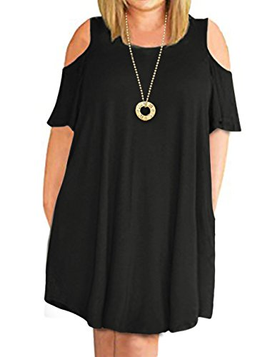 CPOKRTWSO Women's Cold Shoulder Plus Size Casual T-Shirt Swing Mini Dress with Pockets Black 18 Plus by CPOKRTWSO
