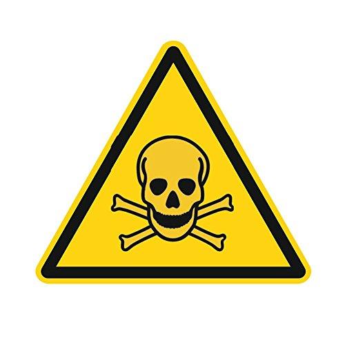 Warnzeichen W016 - Warnung vor giftigen Stoffen - Aufkleber aus Folie - 50 mm - 250 Stück