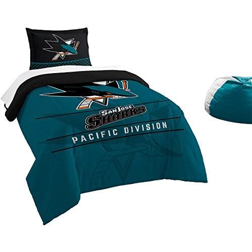 The Northwest Company Officially Licensed NHL San Jose Sharks Draft Twin Comforter and Sham Set, ()