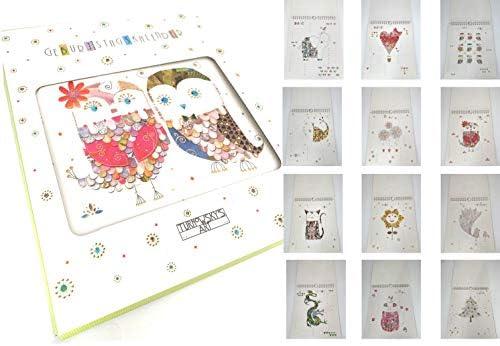 """Geburtstagskalender von TURNOWSKY'S ART, jahresunabhängig & immerwährend im Format von 20 x 23 cm """"Gefiedertes buntes Eulenpaar"""""""