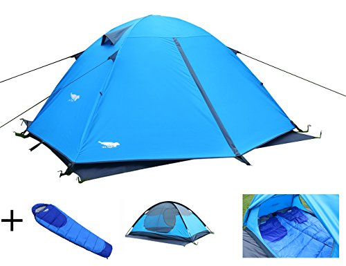 Luxe Tempo Enhanced Version 2 Person Tents with FREE Sleeping Bag for C&ing Backpacking with Rainfly  sc 1 th 197 & Luxe Tempo Enhanced Version 2 Person Tents with FREE Sleeping ...