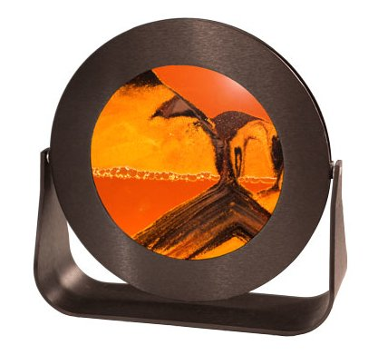Arctic Sun Tabletop (Exotic Sands Sand Picture - Small Black Metal Aluminum Circle Frame (Sunset Orange) 7 different sands from around the World. Deep sea Sandscape - Hourglass - Liquid Sand Timer - Lava Lamp - Lava Lite)