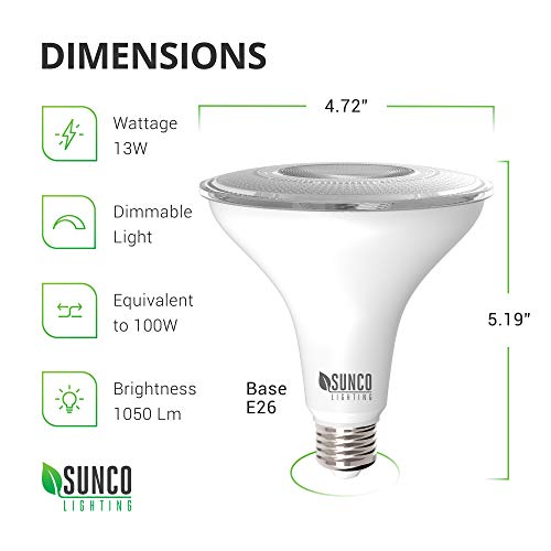 Sunco Lighting 6 Pack PAR38 LED Bulb 13W=100W, 5000K Daylight, 1050 LM, Dimmable, Indoor/Outdoor Spotlight, Waterproof - UL & Energy Star