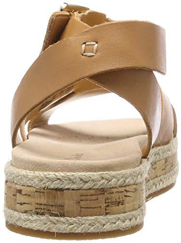 Poppy Marron Clarks Leather Botanic Femme light Sandales Cheville Bride Tan PBUg5Bq