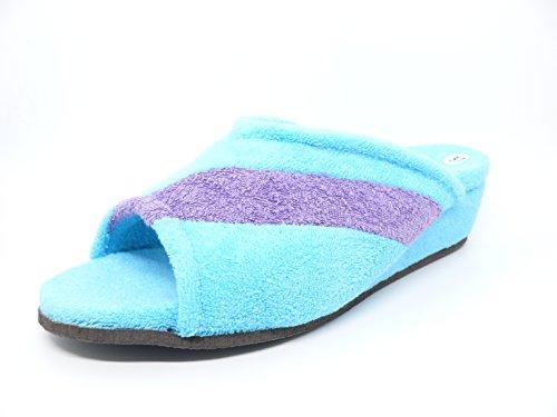Zapatilla mujer estar por casa marca VANITY en rizo toalla color Azul - Ducados 572 - 30 Azul