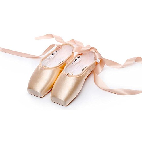 WEISIPU-Professional-Ballet-Slipper-Dance-Shoe-Pink-Satin-Ballet-Pointe-Shoes-with-Toe-Pad-Protector-for-GirlsBeginner-Practicing-Ballet-ShoesUS-3
